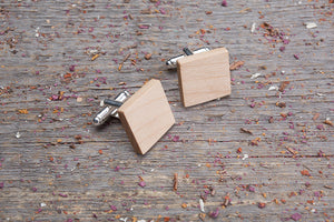 Square maple cufflink