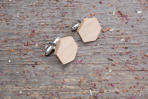 Hexagon maple cufflink
