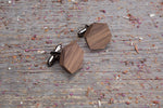 Hexagon walnut cufflink