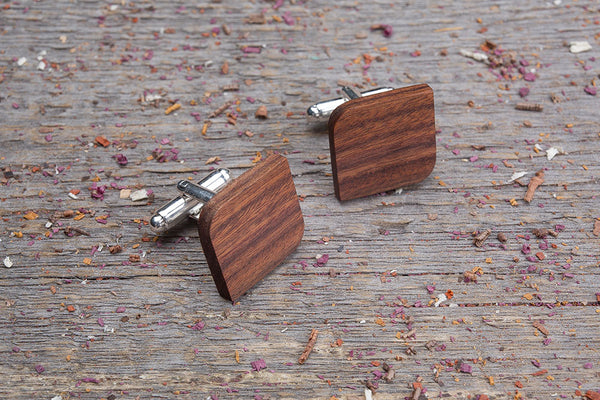 Rounded Square rosewood cufflink
