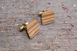 Rounded square zebrano cufflink