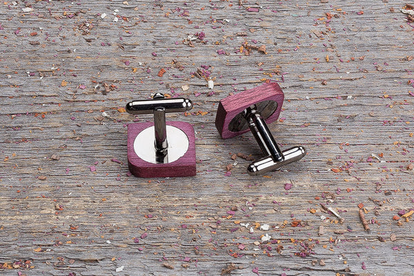 Rounded square purpleheart cufflink