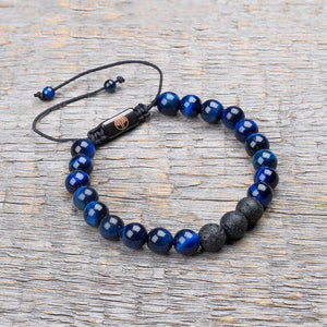 blue tiger eye / black lava stone