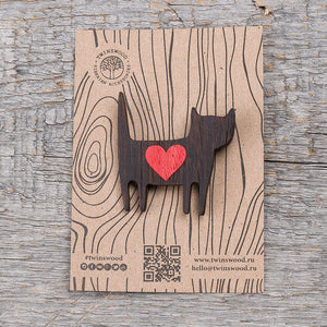 love cat wooden pin