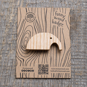 white elephant wooden pin