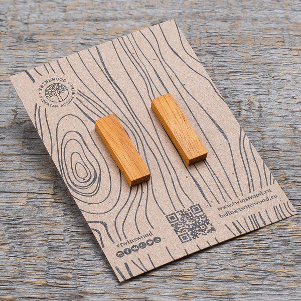 white oak rectangle earrings