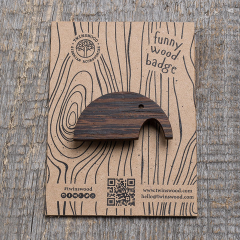 black elephant wooden pin