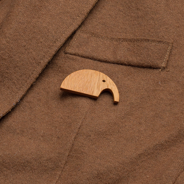 orange elephant wooden pin