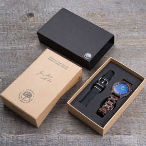 wenge wood watch / black leather strap