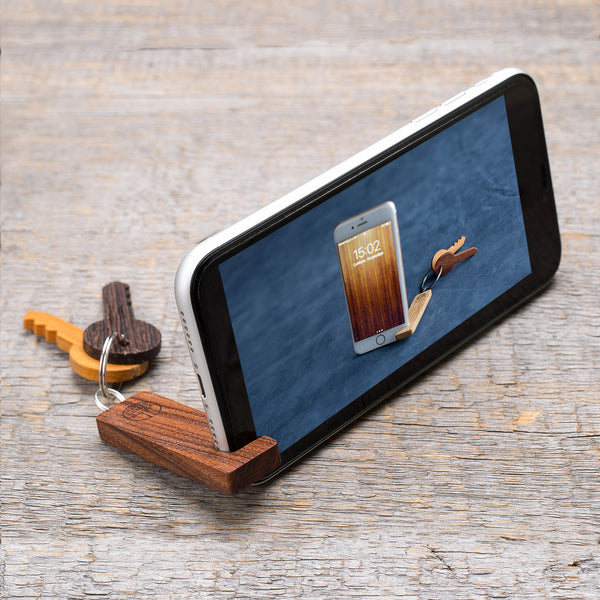 walnut wood phone stand / keychain