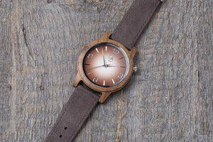 Walnut wood watch, brown strap