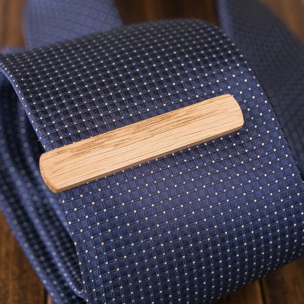 oak wood tie clip in gift box