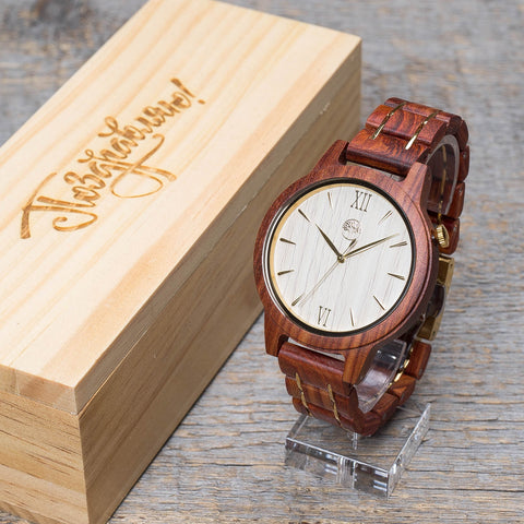 Original red wood grain watch, wood steel  band, white ash wood dial