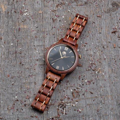 Original red wood grain watch, wood steel  band, black dial