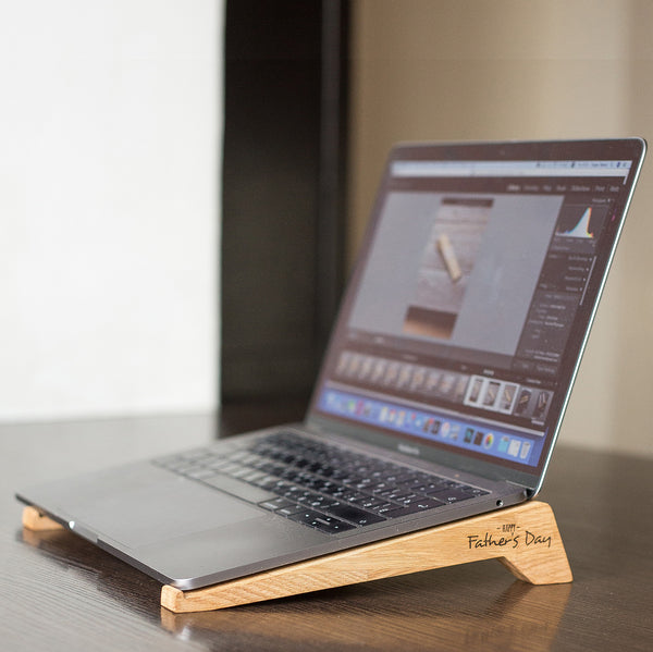 laptop oak wood stand