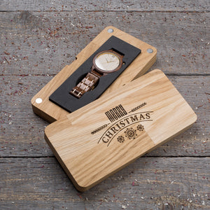 Original walnut wood grain watch, white ash dial, gift box