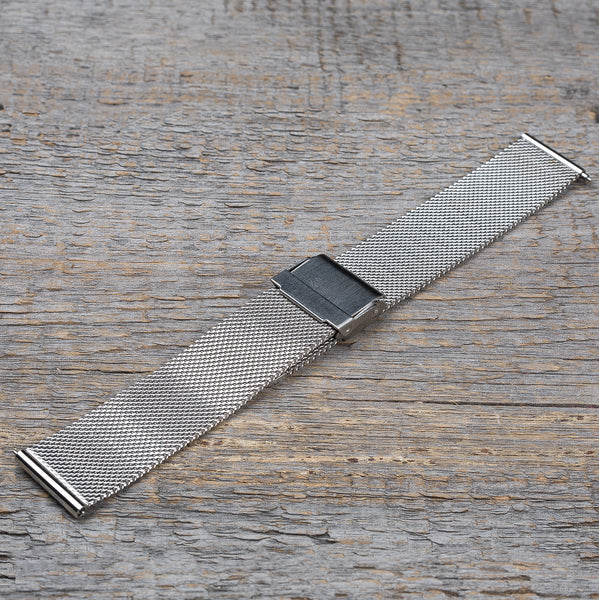Black sandal wood watch, steel mesh band
