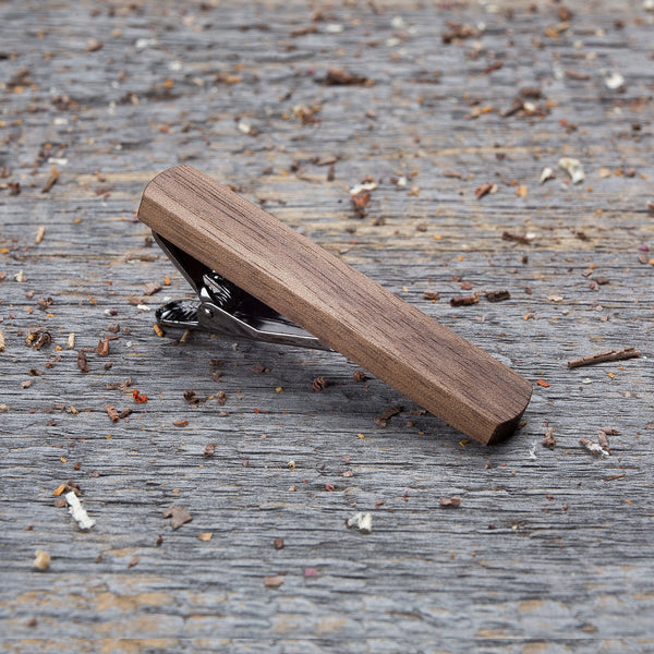 walnut wood tie clip in gift box