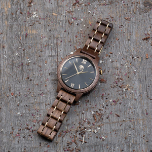 Original walnut wood grain watch, wood steel  band, black dial