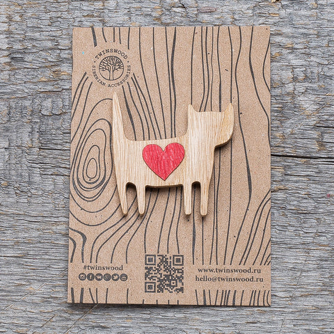 love cat wood pin