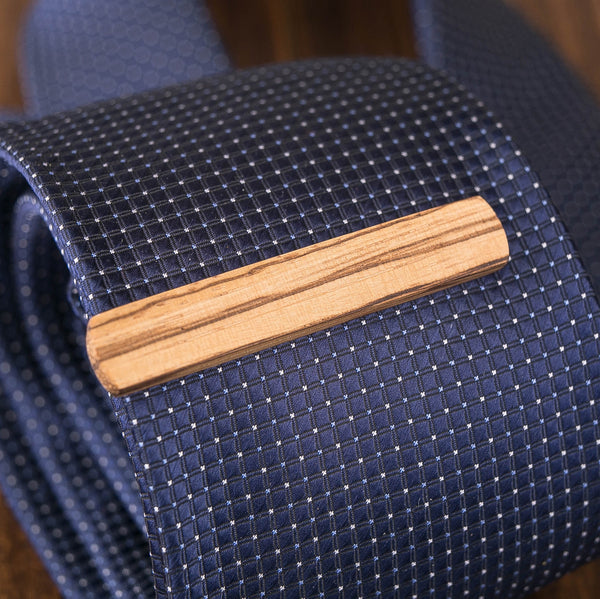 Zebrano wood tie clip in gift box