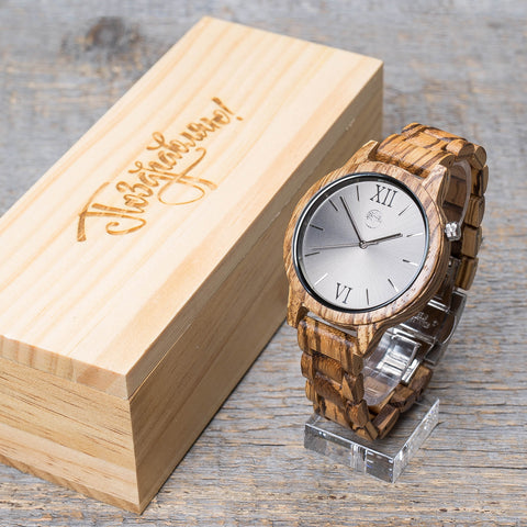 Original zebrano wood grain watch, wood band, silver steel dial