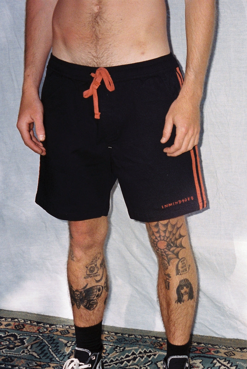 "BAD SPORT BEACH SHORTS ""BLACK AND RED"""