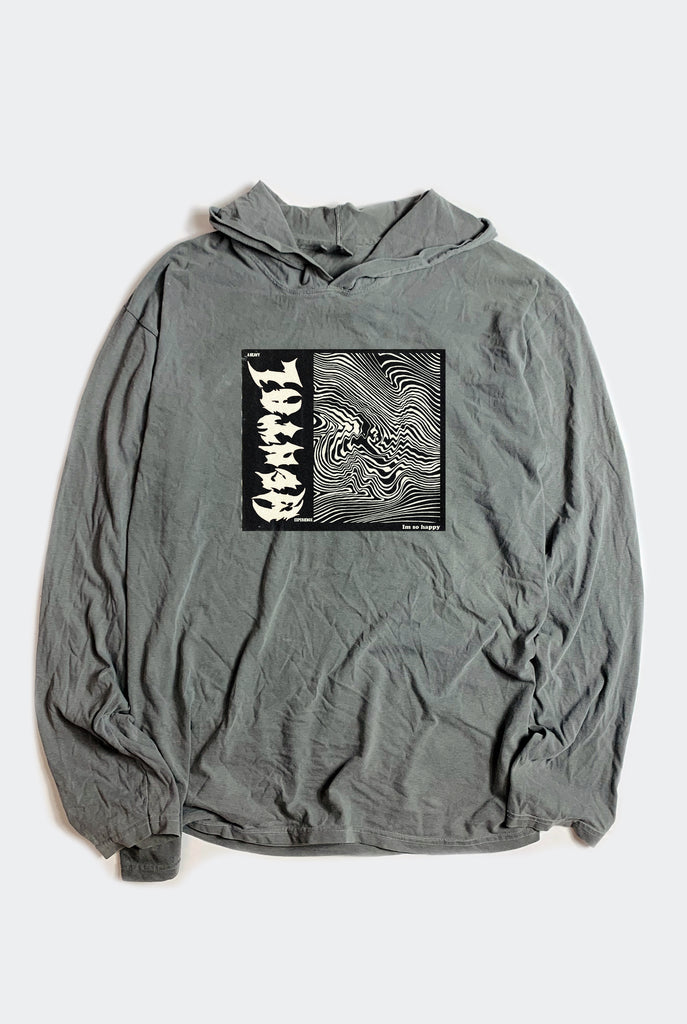 IM ISO HAPPY HOODED TEE / WASHED GREY