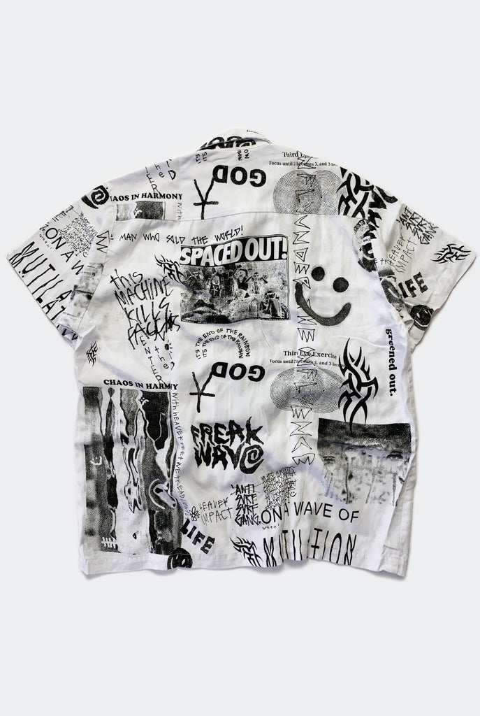 "SPACED OUT BOWLO SHIRT / WHITE ""unisex"" PREORDER"