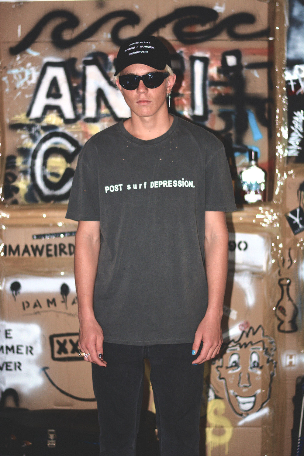 "post surf depression tee / vintage black ""unisex"""