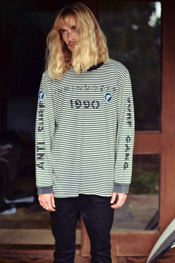 anti surf surf gang stripe / custom stripe l/s tee 1 of 1