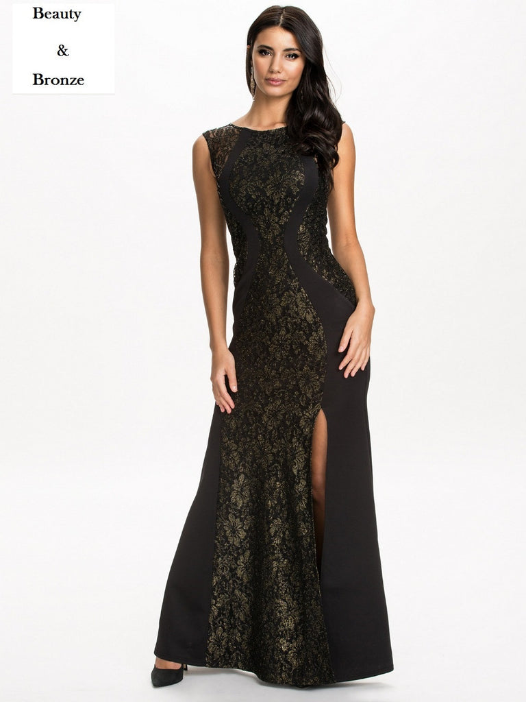 Elegant Floral Lace Hollow Out Evening Dress