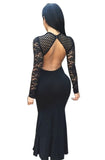 Black Long Sleeve Lace Dress - Beauty & Bronze Clothing and Accessories