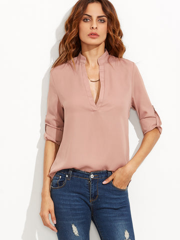 Beautiful V-Neck Long Sleeve Blouse - Beauty & Bronze Clothing and Accessories