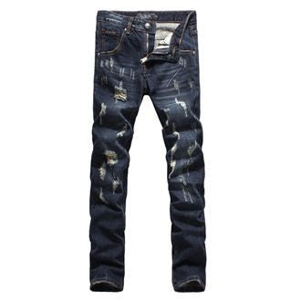 New 2016 Fashion Men's Personality Dark Blue Skull Washed Cat Whisker hole Denim Jeans - Beauty & Bronze Clothing and Accessories