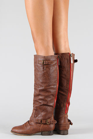 Breckelle Double Buckle Contrast Zipper Riding Knee High Boots - Beauty & Bronze Clothing and Accessories