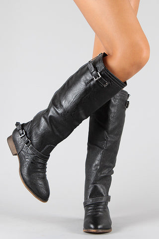 Breckelle Double Buckle Ruched Riding Knee High Boot - Beauty & Bronze Clothing and Accessories