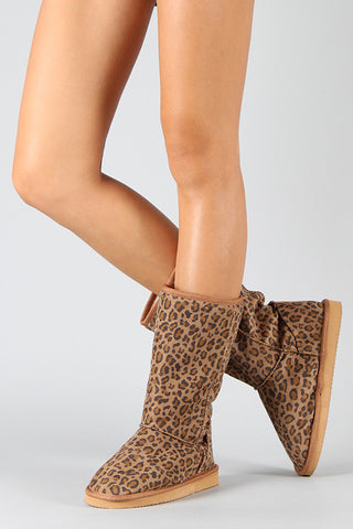 Miss Me Leopard Round Toe Mid Calf Boot - Beauty & Bronze Clothing and Accessories