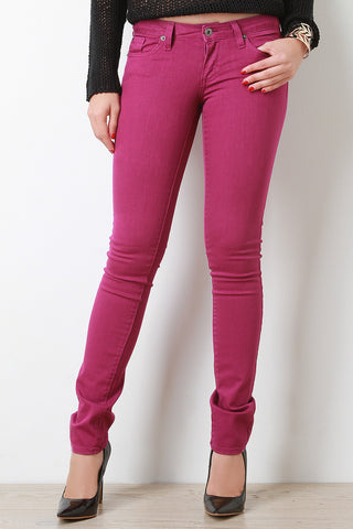 Low Rise Classic Denim Skinny Jeans - Beauty & Bronze Clothing and Accessories
