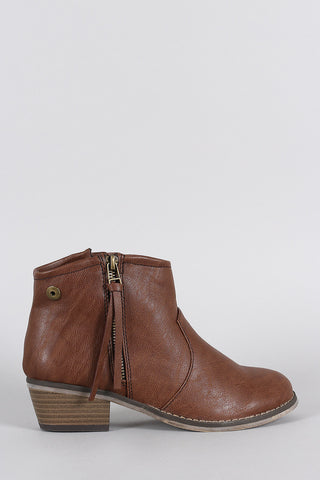 Breckelle Zipper Round Toe Cowgirl Ankle Boots - Beauty & Bronze Clothing and Accessories