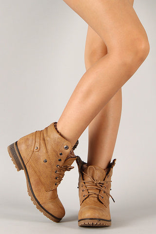 Sweater Collar Lace Up Ankle Boots - Beauty & Bronze Clothing and Accessories