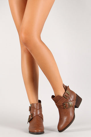 Breckelle Double Buckle Criss Cross Round Toe Cutout Booties - Beauty & Bronze Clothing and Accessories
