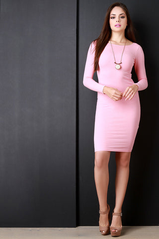 Casual Long Sleeve Boat Neck Midi Dress - Beauty & Bronze Clothing and Accessories