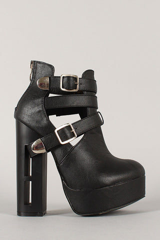 Strappy Buckle Cutout Heeled Platform Booties - Beauty & Bronze Clothing and Accessories