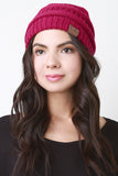 Solid Ridged Knit Beanie - Beauty & Bronze Clothing and Accessories