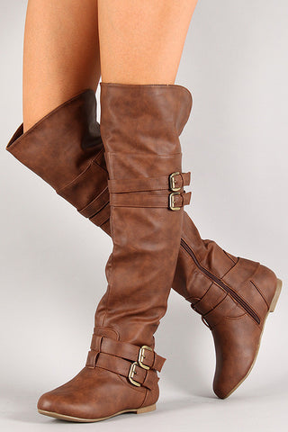 Buckled Strap Over-The-Knee Riding Boot - Beauty & Bronze Clothing and Accessories