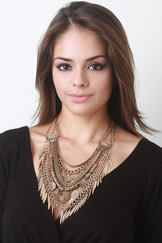 Dangle Charm Statement Necklace - Beauty & Bronze Clothing and Accessories