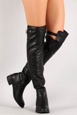 Elastic Panel Buckle Riding Over-The-Knee Boots - Beauty & Bronze Clothing and Accessories