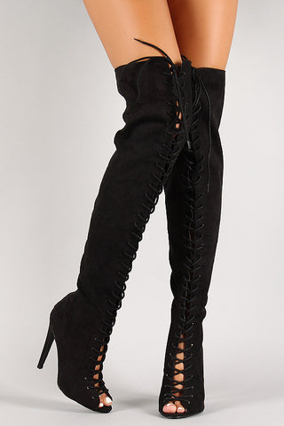 Qupid Lace Up Peep Toe Over-The-Knee Boot - Beauty & Bronze Clothing and Accessories