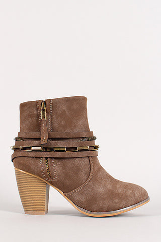 Liliana Strappy Chain Round Toe Cowboy Ankle Booties - Beauty & Bronze Clothing and Accessories